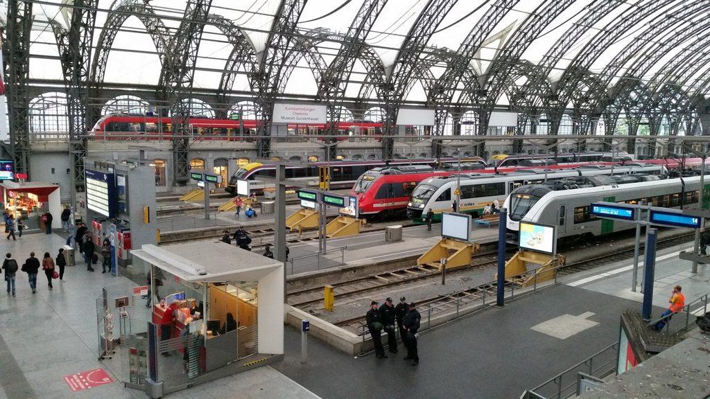 Regionální doprava na nádraží v Drážďanech